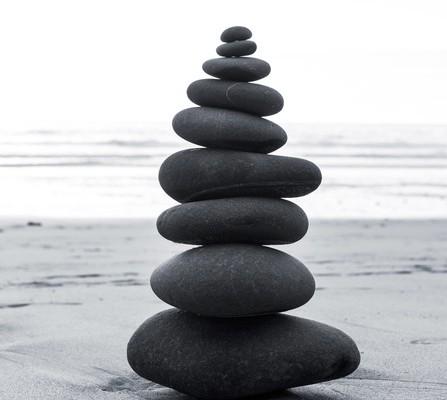 Zen balanced stones stack close up