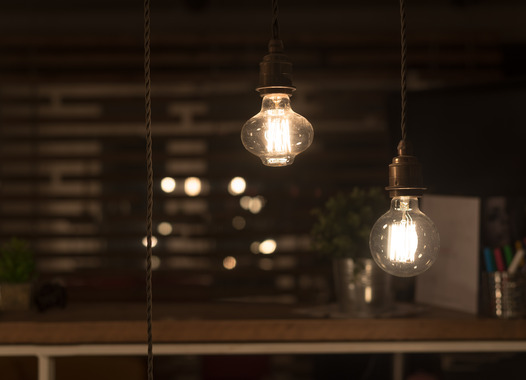 Low Watt Tungsten Bulbs Hanging from Cord